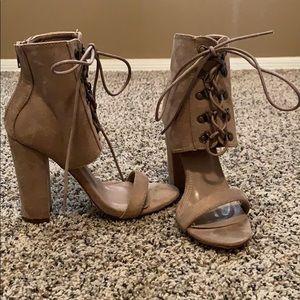 Nude tie-up Heels